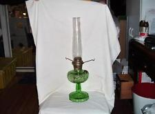 ANTIQUE ALADDIN WASHINGTON DRAPE OIL LAMP CLEAR GREEN GLASS W/ LAMP SHADE HOLDER
