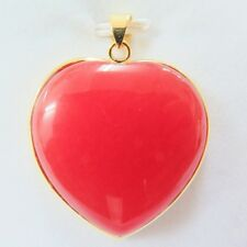 Fashion Elegant 18k GP Alloy With Red Jade Woman's Lucky Heart Pendant 40mm H