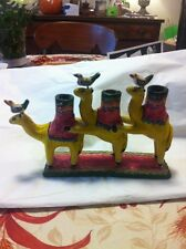 Folk Art Tree Of Life Style Set Of Three Camels With Birds From Jalisco Mexico