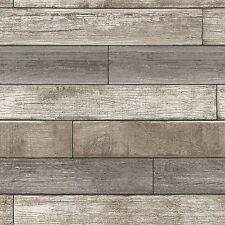 "WallPops! Nu 18' x 20.5"" Reclaimed Wood Plank Natural Peel and Stick Wallpaper"