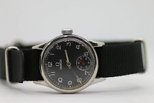 Rare Vintage 1940's S/S Men's Omega WWII Era 2165 T3 15j Swiss Watch Black Dial