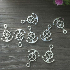 14pcs Steering wheel with anchor Tibetan Silver Bead charms pendant #2,
