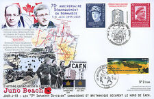 "Maxi FDC ""70 ans D-DAY / Major KELLER, Canada - JUNO BEACH"" (Courseulles) 2014"