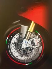 DUCATI SCRAMBLER MOTORCYCLE WHEEL RIM STICKERS TRIM ITALIAN FLAG RED VINYL