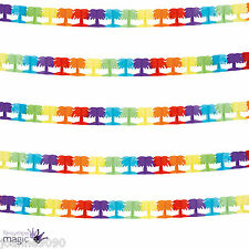 *4m Hawaiian Beach Party Tropical Rainbow Decoration Palm Tree Garland Bunting*