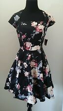 NWD MODCLOTH CORNERSTONE OF CLASSY DRESS IN BLACK BOUQUET M by IXIA A-LINE
