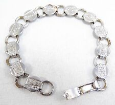 RARE PRETTY FLOWERS & VINES VINT  SIGNED SARAH COVENTRY SILVER TONE BRACELET