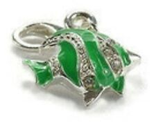 NICE SILVER & GREEN FISH WITH CLEAR RHINESTONES  CLIP ON CHARM -  SILVER PLATE