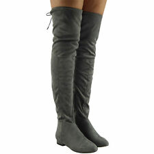 WOMENS LADIES OVER THE KNEE THIGH HIGH LOW HEEL FLAT SLOUCH FAUX SUEDE BOOT SIZE