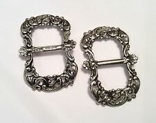 Pair of Victorian hallmarked sterling silver buckles, Birmingham 1900