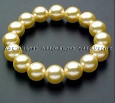 "12mm Golden south sea shell pearl round beads bracelets 7.5"" AAA"