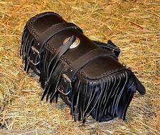Satchel fork / tool kit bag with fringe Leather lace custom motorcycle