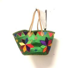 Handwoven Leather Strap Shopping French Market Basket Bag Moroccan