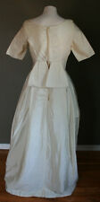 Vintage Ivory Satin Beaded 1960's Wedding Dress Gown Back Bow Short Sleeve 6 8
