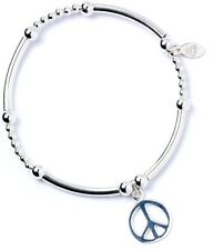 925 Sterling Silver Ball Bead Noodle Roodle Bracelet with Peace Sign Charm