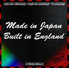 Made in Japan Built in England Motorcycle / Car Decal Bumper Sticker- 17 Colours