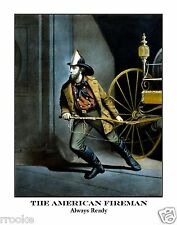 The AMERICAN FIREMAN Firefighter Fire Fighter Vintage Fine Art Print / Poster