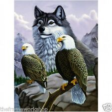 WOLF AND EAGLES - 3D LENTICULAR MOVING PICTURE POSTER 400mm X 300mm (NEW)