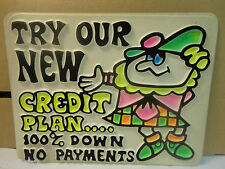 """Vacuum Mold 9"""" X 7"""" Sign from the 70's """"Try Our New Credit Plan"""" (New/Old Stock)"""