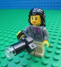 Lego Female Journalist minifig camera minifigure city town lady