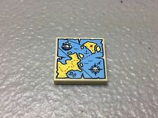 NEW LEGO Pirate Minifig TREASURE MAP 2x2 TILE Tan, Yellow & Blue w/Ship