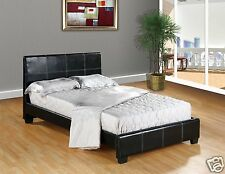 BLACK Faux Leather FULL Size Platform Bed Frame & Slats Modern Home Bedroom NEW