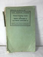 WWII Navy Training General Training Course for Petty Officers 3c & 2c 1942