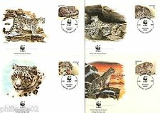 Kyrgyzstan 1994 WWF Snow Leopard Panther Wildlife Animal Sc 29-32 Set of 4 FDC