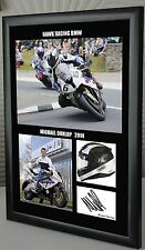 Michael Dunlop BMW Isle of Man TT Motor Cycle Framed Canvas Print Signed