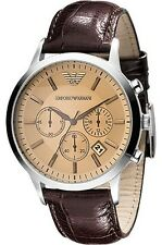 Authentic Emporio Armani Mens AR-2433, Brown Strap Champagne Dial