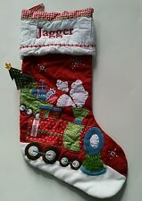 Pottery Barn Kids Quilted Train Red Gingham Christmas Stocking with name JAGGER