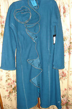NWT CoVelo Teal Boiled Wool Zipper Rose Long Coat XL Extra Large $330 HTF RARE