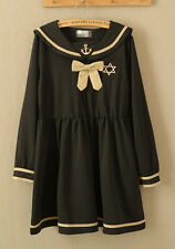 NEW Japanese Fashion Style Mori Girl Forest Sailor School Girl Uniform Bow Dress