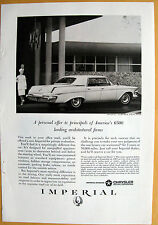 Vintage Magazine Print 1963 Ad for Chrysler Imperial Lebaron Four-Door