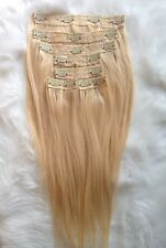 "100% Virgin Remy Human Hair Bleached  Blonde Clip in Hair Extensions  18"" 613"