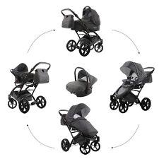 Knorr Baby Kombi-Kinderwagen Set Voletto Tupfen GRAU mit Autositz 3312-1