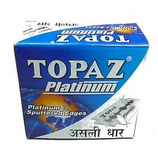 Topaz Platinum Sputtered Edges Razor Blades Men's Shaving 200 BLADES.