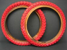 Vintage NOS Roached 16 x 2.125 Red Cheng Shin BMX Bicycle Tires Wheels