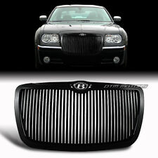 Black Front Vertical Hood Bumper Grille + B Emblem For 05-10 Chrysler 300 300C