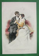 YOUNG LOVER Kiss on Bench - VICTORIAN Era Color  Print