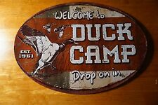 WELCOME TO DUCK CAMP Rustic Hunter Log Cabin Hunting Lodge Home Decor Sign NEW