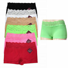 6 Pairs Womens Seamless Panties Sexy Lace Hot Boy Shorts Underwear Sexy Lot Pack