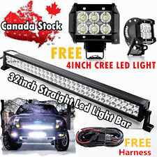 32inch LED Light Bar Flood Spot + 2× 4inch CREE Work Pickup Offroad Truck SUV 30