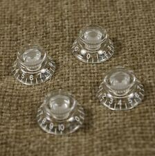 D41 Set of 4 Invisible Top Hat Bell Style Guitar Speed Knobs Crystal Clear