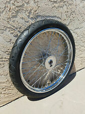 "MINI DRUM BRAKE 21"" x 2.15""  3/4"" BRG W/V-Rubber Tire CHOPPER BOBBER FRONT WHEEL"