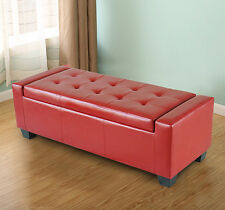 Homcom Modern Faux Leather Ottoman Footrest Sofa Shoe Storage Bench Seat - Red