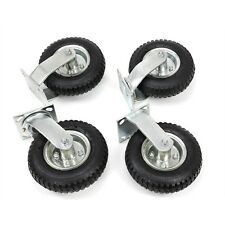 "4 PCS 8"" Air Tire Pneumatic 2 Rigid Wheels & 2 Swivel Casters Cart Farm Caster"