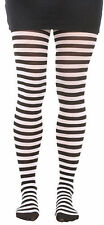Black and White Striped Tights Pantyhose School Girl Wedneasday Addams Costume