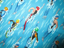 Swim Racing Sports Compete Swimming Pool Water Cotton Fabric FQ
