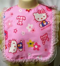 Adult Baby Girl Play Bib ABDL Pink Lacey Kitty Sissy